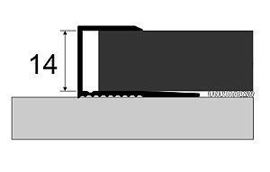 Ukončovací lišta 14 mm eloxovaný hliník  šroubovací (cena za bm)